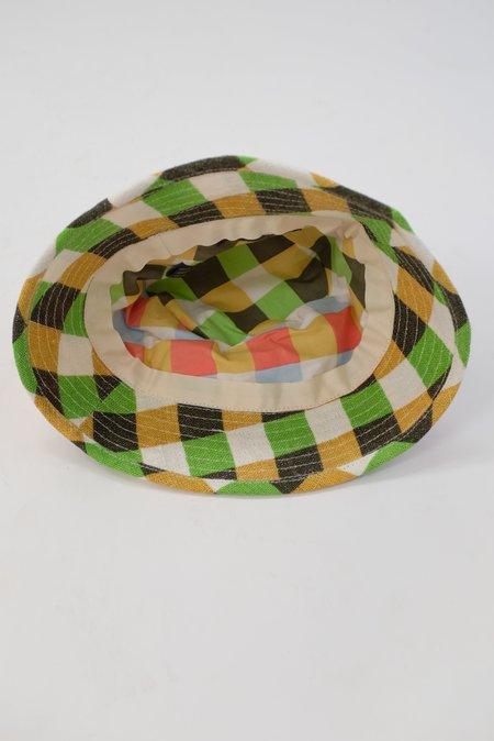 Épice Checkered Linen Bucket Hat - grass