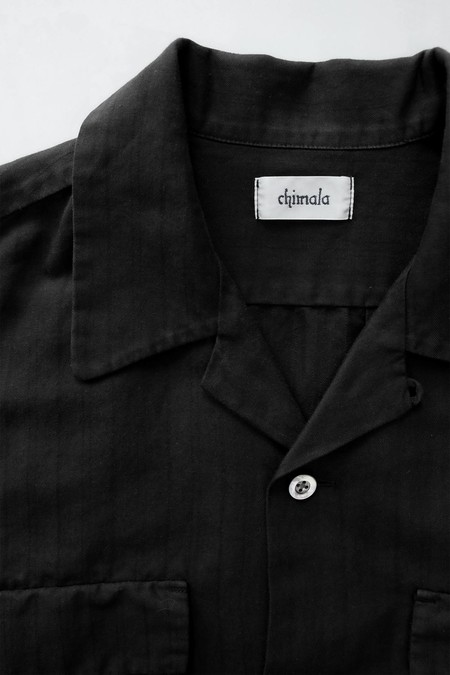 Chimala Herringbone Shirt - Black