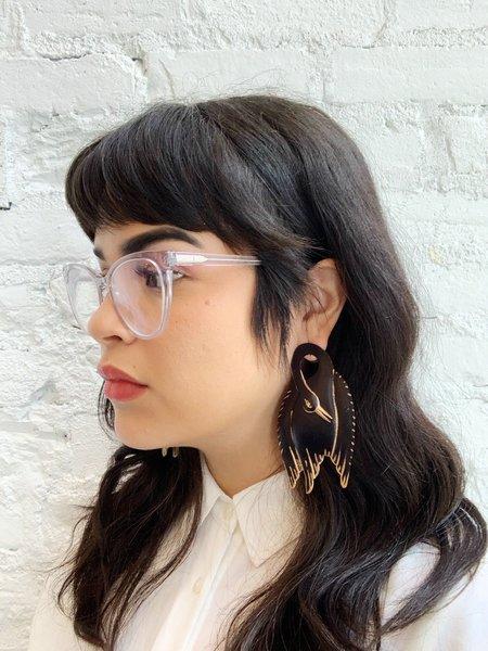We Dream in Colour Swan earrings - black