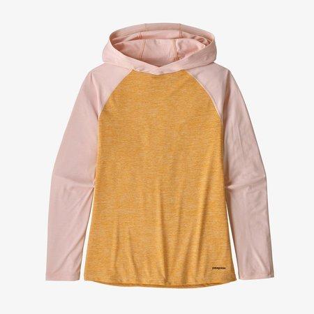 kids Patagonia Girls' Capilene® Cool Daily Sun Hoody Beluga sweater - Saffron