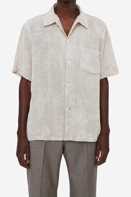 Our Legacy Box Shirt Shortsleeve - White Coated Cotton Linen