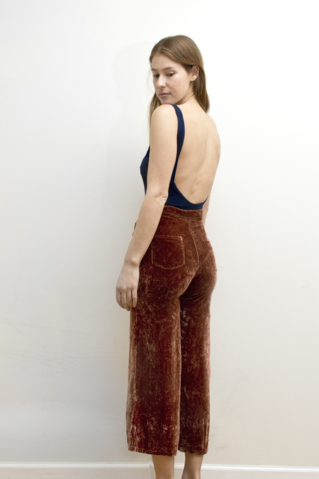 COLORANT HIGH WAISTED SILK VELVET PANTS