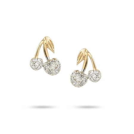 Adina Reyter Fresh Fruit Pavé Cherry Posts earrings -  14k yellow gold/0.11 ct