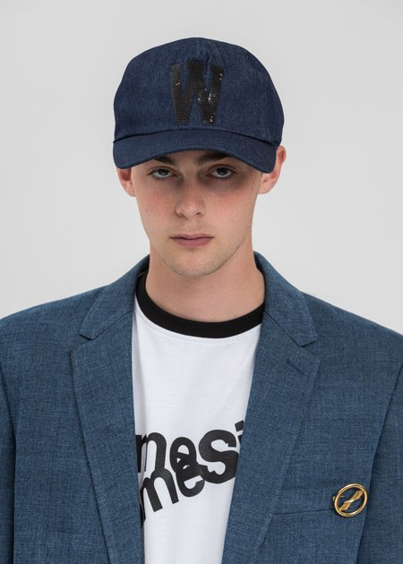 we11done Sequins Patch Embroidered Cap - Indigo Blue