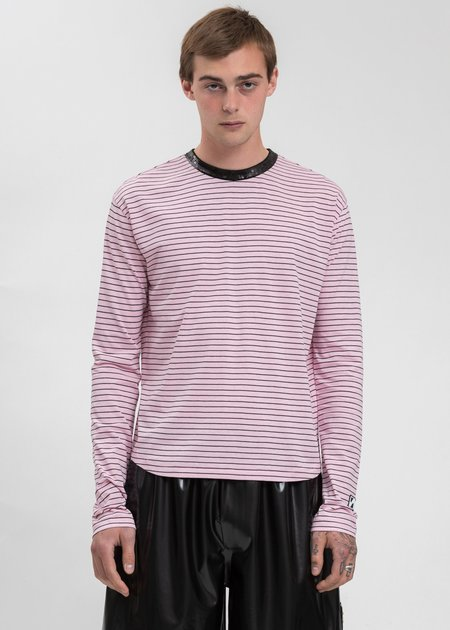 we11done Sequins Trim Neck Stripe Long Sleeve top - Pink