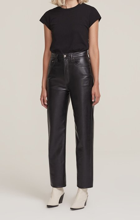 Agolde Recycled Leather 90s Pinch Waist Pants - Black