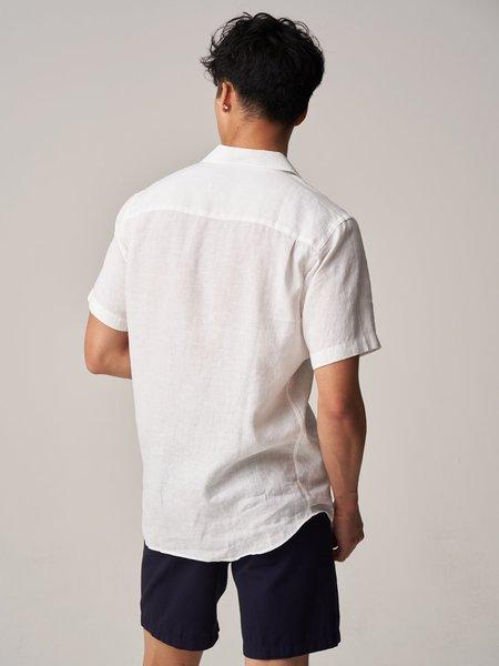 Freemans Sporting Club Short Sleeve Camp Collar Shirt - White Linen
