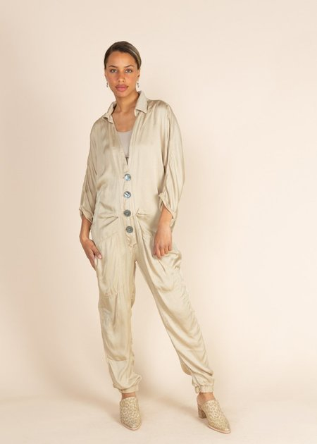 Jaga Residency Button Front Jumpsuit - Gold