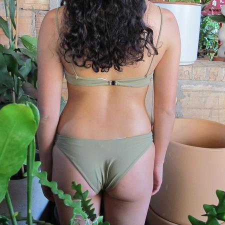 Haight Leila High Leg Bikini Bottom - Sage Green