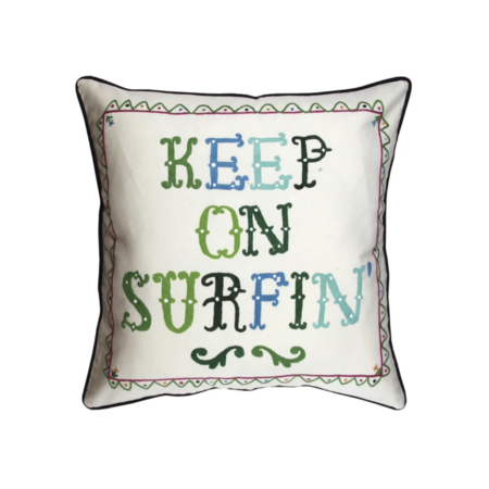 Aloha Zen Keep On Surfin' Pillow - White/Multi