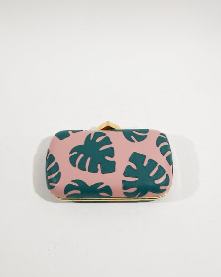 [Pre-loved] BUTRICH The Monstera Box Clutch - Pink/Green