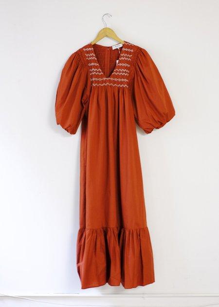 Sea NY Puff Sleeve Smocked Dress - Rust
