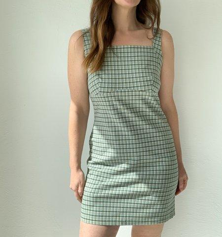 Vintage Plaid Summer Dress - green/blue/white