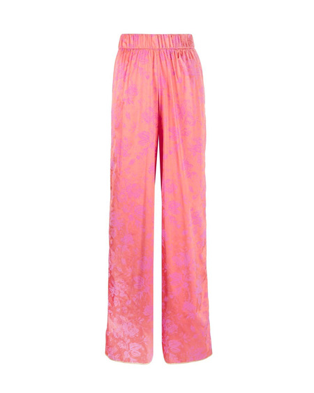 Oseree Brocade Flared Trousers - Pink