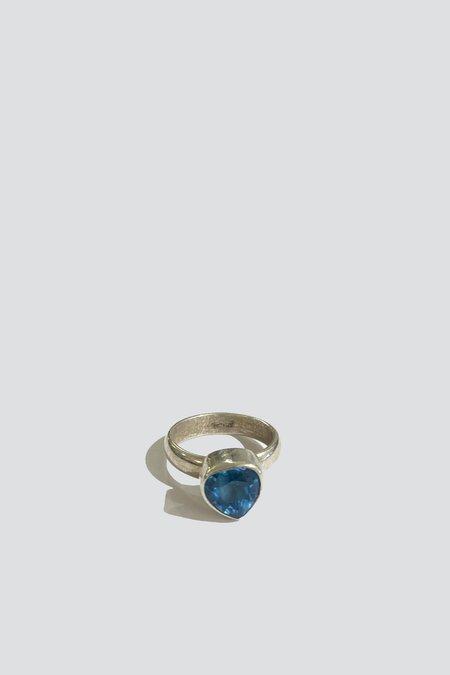 Vintage Heart Ring - Sterling Silver/blue topaz
