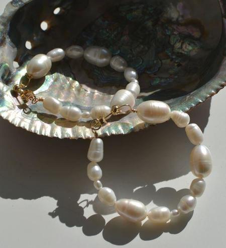 Gem & Blue Freshwater Pearl Hoop Earrings - Cream