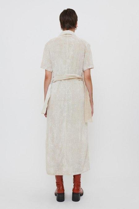 Our Legacy Coated Cotton Linen Narrow Shirt Dress - White