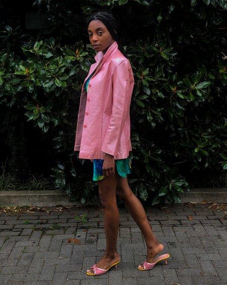 Vintage Pearlescent Leather Jacket - Pink