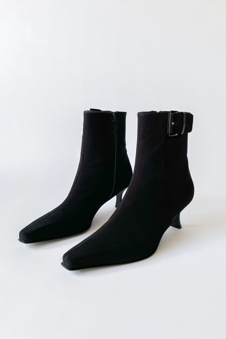 Vintage French Heel Buckle Ankle Boots - Black
