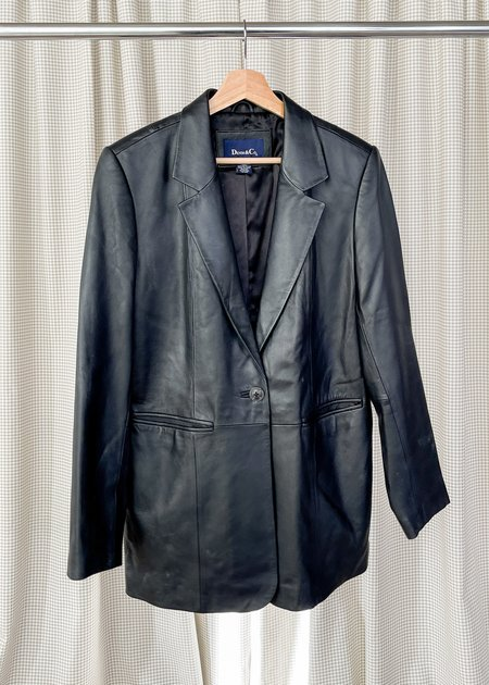 Vintage Leather Blazer - Black