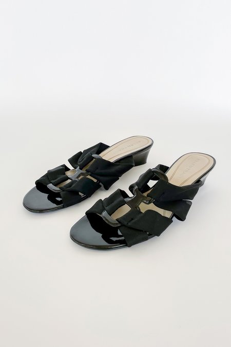 Vintage Neoprene Wedge Slides - Black