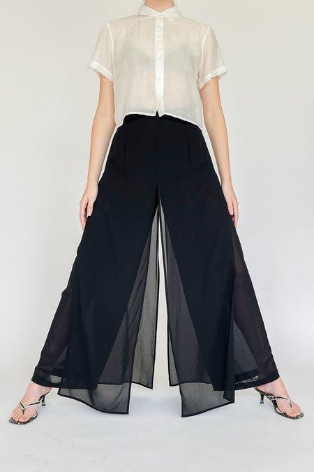 Vintage Sheer Chiffon Slit Pants - Black