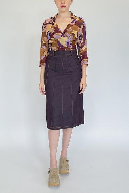 Vintage Paneled Denim Skirt - Plum