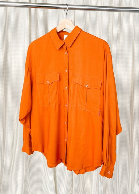 Vintage Relaxed Pocket Blouse - Poppy