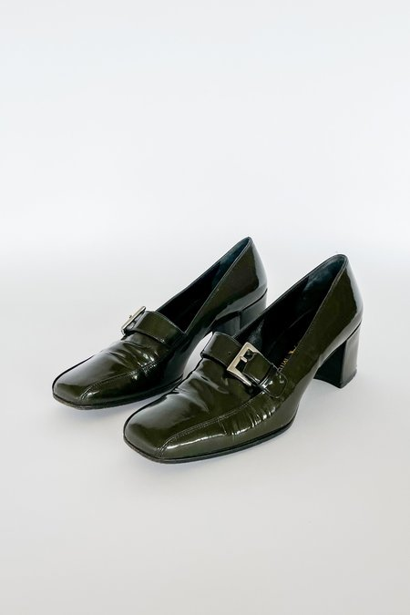 Vintage Prada Patent Leather Loafers - Deep Green