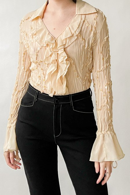 Vintage Shell Pleated Sequin Ruffle Top