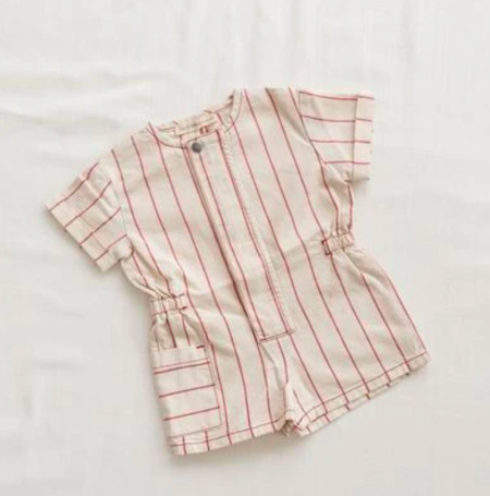 Kids Fin & Vince Short Painter Jumpsuit - Red Stripe