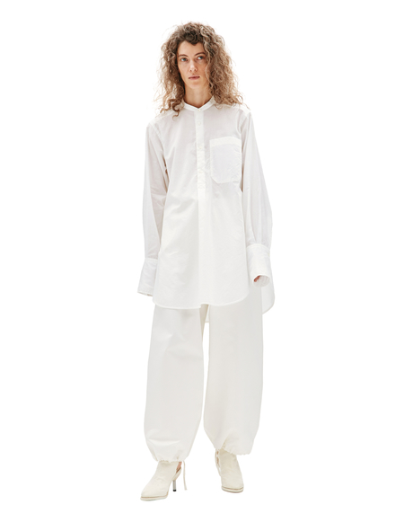 Y's Cotton Stand Collar Shirt - White
