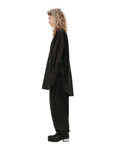 Y's Elongated Popover Shirt - Black