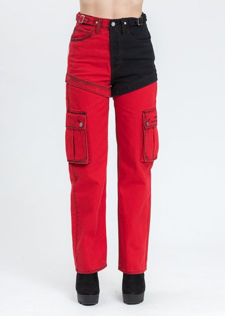 Feng Chen Wang Levi's Edition Denim Twill High Straight Loose Jeans - Red/Black