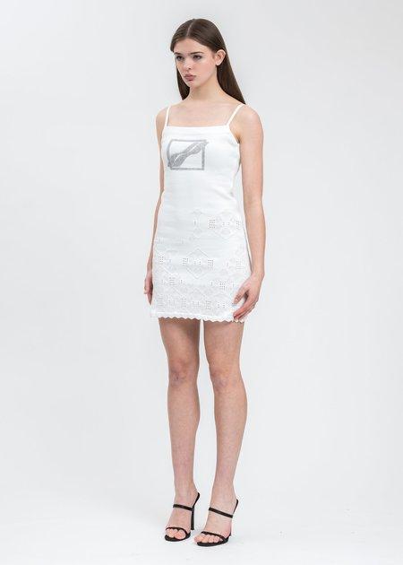 we11done Printed Lace Knit Mini Dress - White