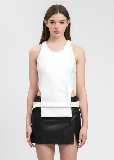 we11done Waist Cut Out Top - white