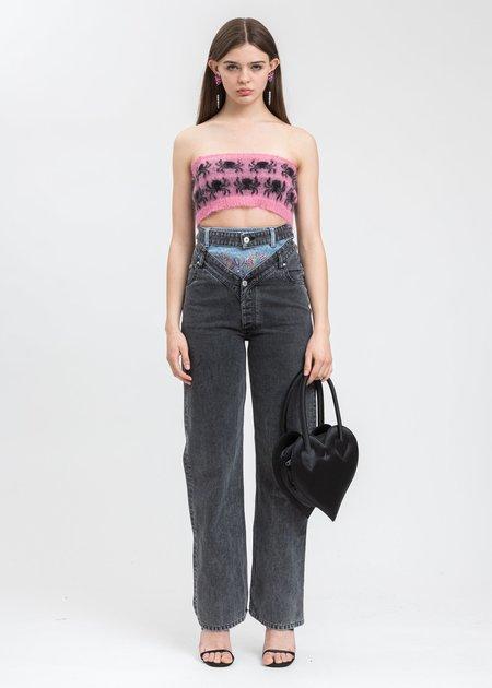 Ashley Williams Mohair Spider Tube Bra - Pink/Black