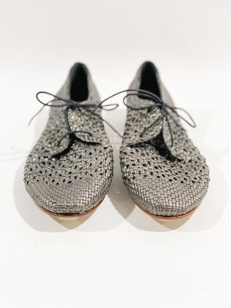 [Pre-loved] Sergio Pagnini Woven Lace Up Flats - Metallic Grey