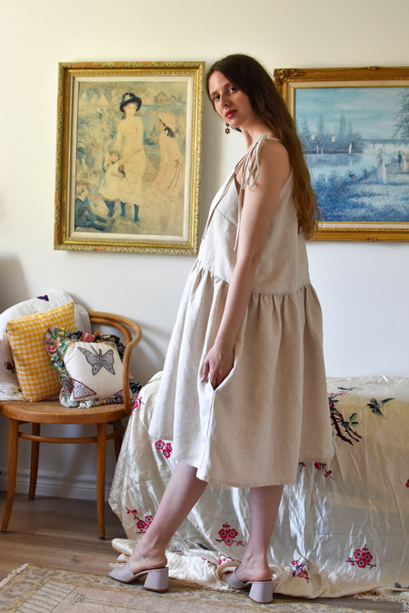 Eliza Faulkner Tig Dress in Raw Linen