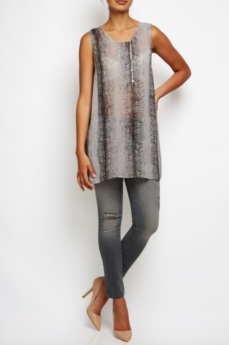 Transit airy sleeveless tunic with button detail