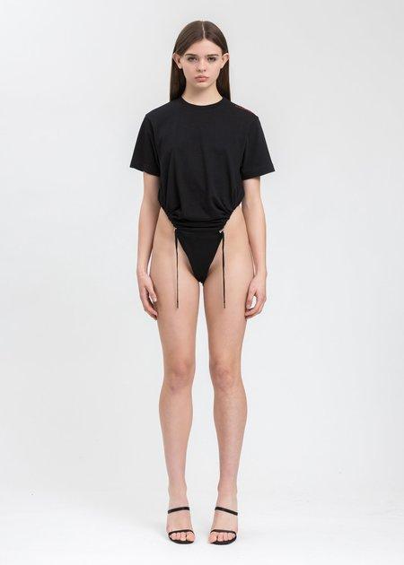 Y/project Ruched T-Shirt Bodysuit - Black