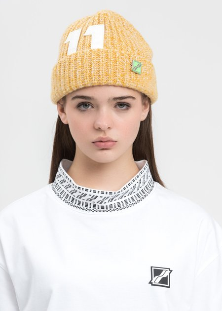 we11done Logo Leather Patch Embroidered Beanie - Yellow