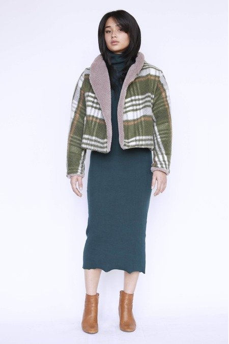 Christine Alcalay Faux Shearling Jacquie Jacket  - Reversible Shearling/Plaid