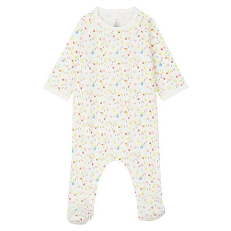 kids Petit Bateau Baby Munacha With Feet Pyjamas - Tulip Print Cream