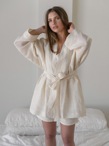 LAUDE the Label Sara Robe - Oat Milk Stripe