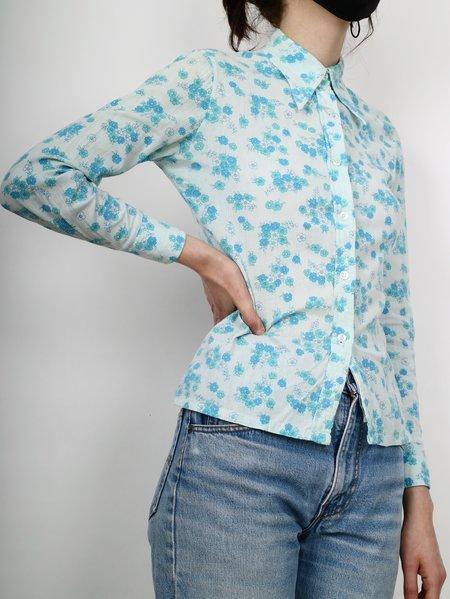 Vintage 70se floral button down shirt - blue