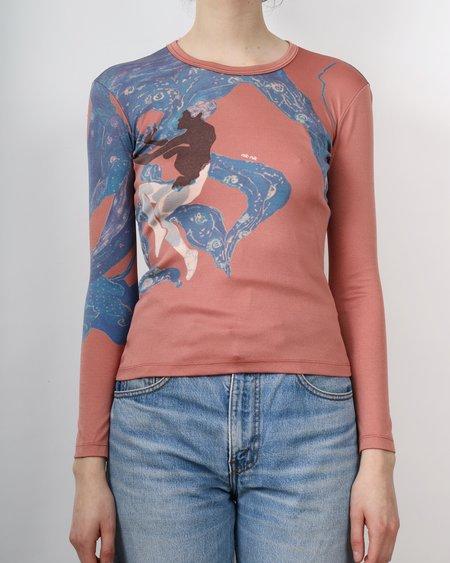 Vintage long sleeve printed 60s poly tee - rust