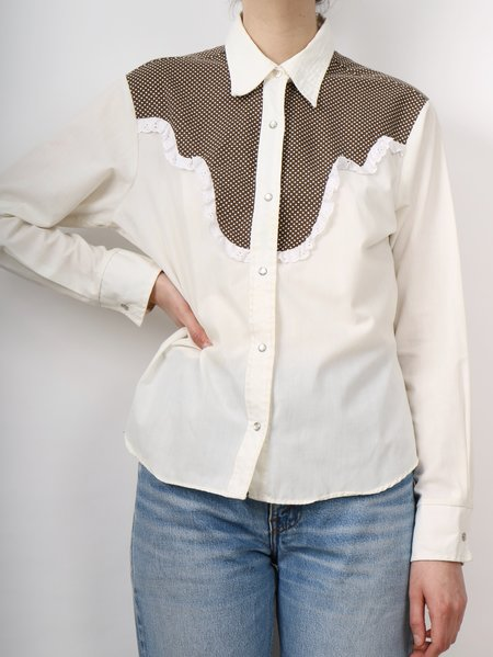Vintage Erin Templeton western frill button down cutie SHIRT - WHITE/BROWN