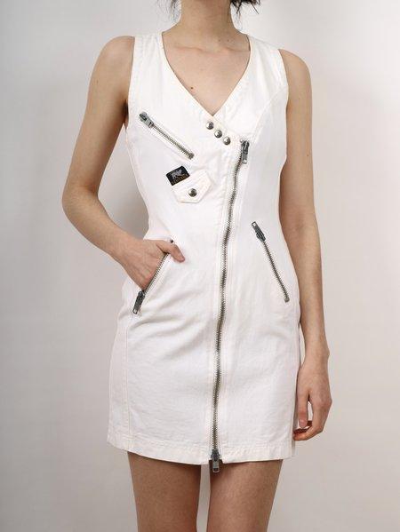 vintage Erin Templeton denim zip dress - WHITE