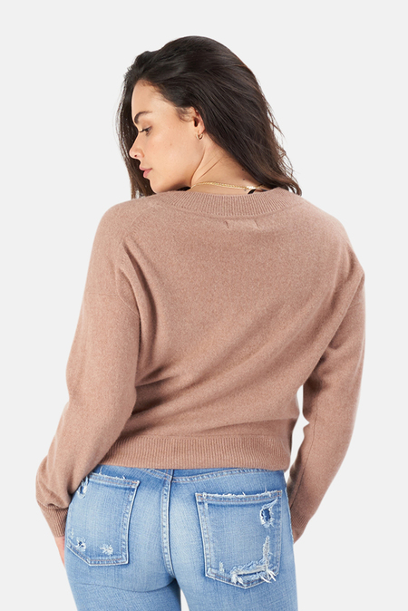 NAADAM Deep V Neck Pullover Sweater - Mocha